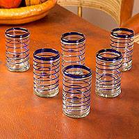Blown glass drinking glasses, 'Spirals of Thought' (set of 6) - Handblown Recycled Glass Striped Blue Water Drinkware 6