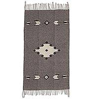 Zapotec wool rug, 'Grey Star' (2x3) - Handwoven Natural Undyed Grey Wool Zapotec Rug (2 x 3)