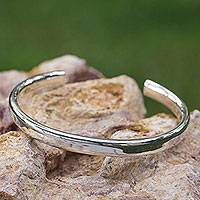 Sterling silver cuff bracelet, 'Perfection' - Sleek Polished Taxco Sterling Silver Cuff Bracelet