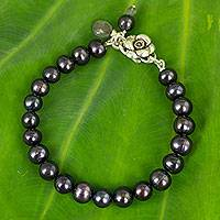 Pearl and labradorite beaded bracelet,