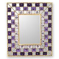 Reverse painted glass mirror, 'Golden Lilacs' - Reverse painted glass mirror