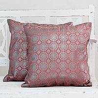 Cotton cushion covers, 'Silver Rose Garden' (pair) - Red Cotton Cushion Covers with Silver Foil Flowers (Pair)