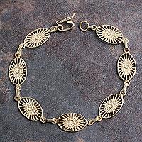 Gold plated link bracelet, 'Solar Star' (Peru)