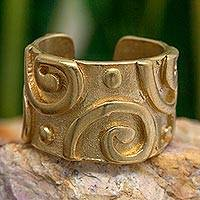 Gold plated wrap ring, 'Pogua' - Gold Plated Ring Modern Design