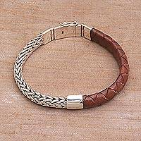 Men's sterling silver and leather bracelet, 'Halfway Home' (Indonesia)