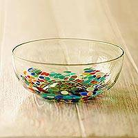 Blown glass serving bowl, 'Confetti Festival' - Colorful Hand Blown Glass Bowl for Serving or Salads