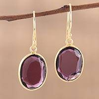 Gold plated amethyst dangle earrings, 'Royal Passion' - Handmade 22k Gold Plated Sterling Silver Amethyst Earrings