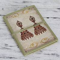 Handmade paper journal, 'Royal Wedding Jewels' - Indian Cotton Bound Journal Sketchbook with Handmade Paper