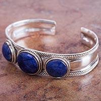 Sodalite cuff bracelet, 'Sodalite Twist' (Peru)