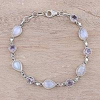 Amethyst and rainbow moonstone link bracelet, 'Misty Lilac' - Handmade Amethyst Rainbow Moonstone Link Bracelet from India