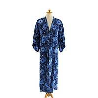 Men's robe, 'Blue Constellations' - Men's Unique Blue Print Robe from Indonesia