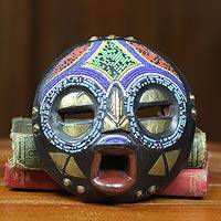African beaded wood mask, 'Okyeame' - Colorful African Tribal Linguist Mask Crafted by Hand