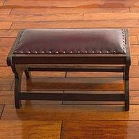 Mohena wood and leather ottoman, 'Sophisticated Andes in Red' - Artisan Crafted Red Leather Wood Ottoman Stool from Peru