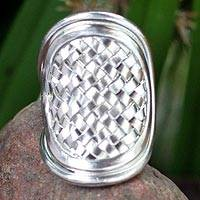 Sterling silver cocktail ring, 'Woven Rapture' - Modern Sterling Silver Band Ring