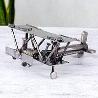 Upcycled Metal Sculpture, 'Rustic Biplane' - Hand Crafted Recycled Metal Rustic Mexico Sculpture