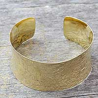 Gold vermeil cuff bracelet, 'Summer Skies' (India)