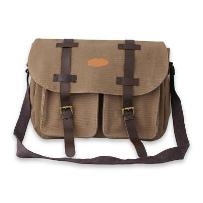 Cotton with leather accents sling bag, 'Intrepid Brown' - Brown Cotton Canvas Sling Bag with Leather Accents