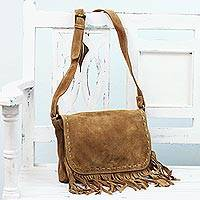 Leather messenger bag, 'Caramel Appeal' - Handcrafted Leather Messenger Bag in Caramel from India
