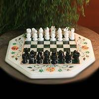 Marble inlay chess set, 'Floral Victories' - Marble Inlay Chess Set from India