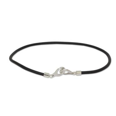 Men's leather and sterling silver necklace, 'Modern Union' - Modern Sterling Silver and Leather Necklace for Men