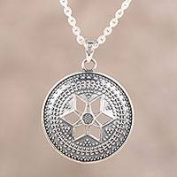 Sterling silver pendant necklace, 'Starry Radiance' - Sterling Silver Pendant Necklace from India