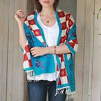 Hand painted silk shawl, 'Swadhin in Red and Teal' - Doves of Peace Hand Woven 100% Indian Silk Shawl Wrap