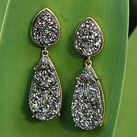 Brazilian drusy agate dangle earrings,