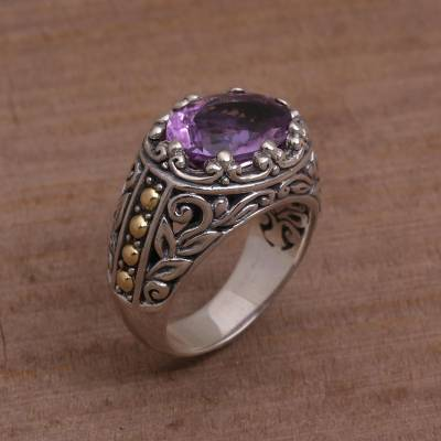 Amethyst Gold Accent and Sterling Silver Single Stone Ring