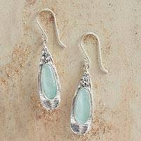 Roman glass dangle earrings, 'Ancient Petals' - Roman Glass and Sterling Silver Petal Earrings