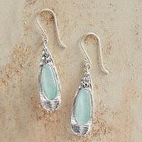 Roman glass dangle earrings, 'Ancient Petals' (Israel)