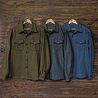 Men's wool blend shirt jacket, 'First Watch' - Men's Wool Blend Button-Down CPO Shirt Jacket