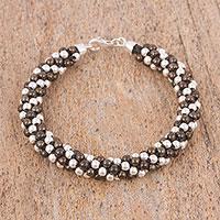 Sterling silver beaded bracelet, 'Dark Dots' (6.75 inch) (Mexico)