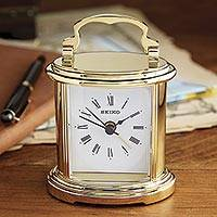 Miniature carriage clock, 'Town and Country' - Miniature Carriage Clock in Gold-Tone Metal