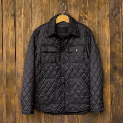 Men's quilted nylon shirt jacket, 'Acadia' - Men's Navy Blue Quilted Nylon Shirt Jacket