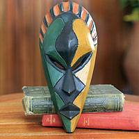 African mask, 'My Name is Odartey' - Colorful Handcrafted African Mask from Ghana
