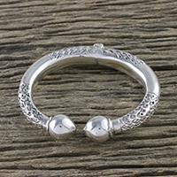 Sterling silver cuff bracelet, 'Gleaming La Na' (Thailand)