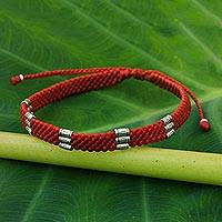 Silver accent wristband bracelet, 'Karen Bamboo in Scarlet' - 950 Silver Accent Braided Wristband Bracelet from Thailand