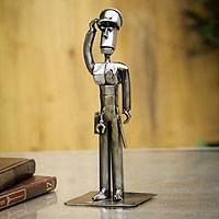 Recycled metal statuette, 'Brave Policeman' - Recycled Metal Statuette from Peru