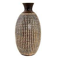 Ceramic decorative vase, 'Terracotta Rain' - Handcrafted Decorative Rain Motif Brown Ceramic Vase
