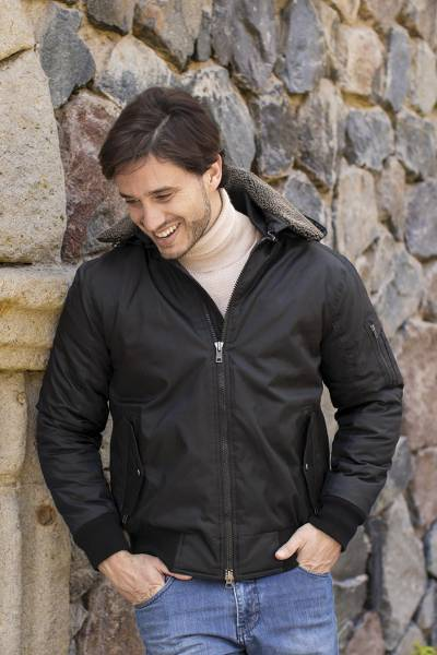 Men's bomber jacket, 'Bombardier' - Men's M-1 Bomber Jacket with Faux Shearling Collar