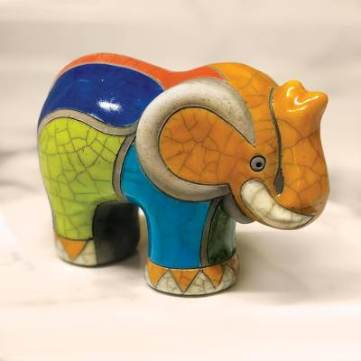 Ceramic raku figurine, 'Transvaal Elephant' - South African Ceramic Raku Style Elephant