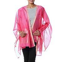 Cotton and silk shawl, 'Rose Radiance' - Handwoven Cotton and Silk Shawl in Pink and Gold