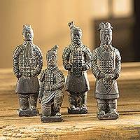 Terracotta statuettes, 'Chinese Warriors' (set of 4) - Terracotta Chinese Warrior Figurines (Set of 4)