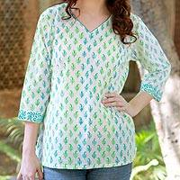 Women's cotton tunic, 'Jaipur Fantasy' - Women's Indian Paisley Cotton Patterned Tunic Top