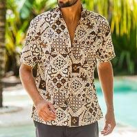 Men's batik cotton shirt, 'Javanese Batik' - Handmade Men's Cotton Batik Shirt with Balinese Motifs