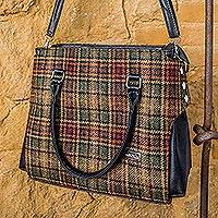 Wool handbag, 'Irish Country House' - Hand Woven Wool and Faux Leather Irish Tartan Handbag