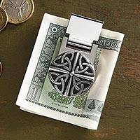 Pewter money clip, 'Celtic Knot' - Pewter Money Clip with Celtic Knot Motif