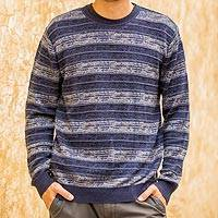 Men's pima cotton crewneck sweater, 'Laguna' - Men's Blue Pima Cotton Crewneck Sweater