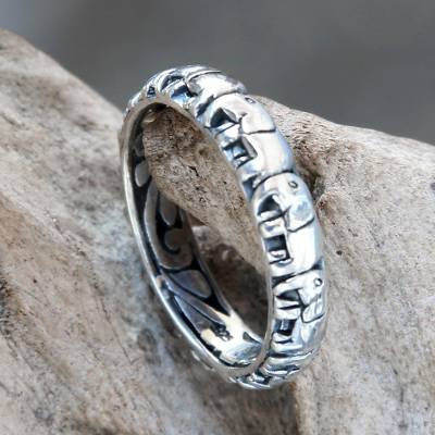 daisy silver ring on right - Elephant Themed Band Ring Crafted from Sterling Silver