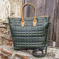 Leather travel bag, 'Italian Highlands' - Green Tartan Tuscan Genuine Leather Travel Bag